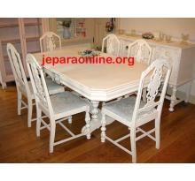 Set Meja Makan Antik Duko Putih