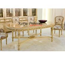Meja Makan Antik Oval