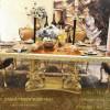 Meja Makan Emas Mewah Kombinasi Veneer