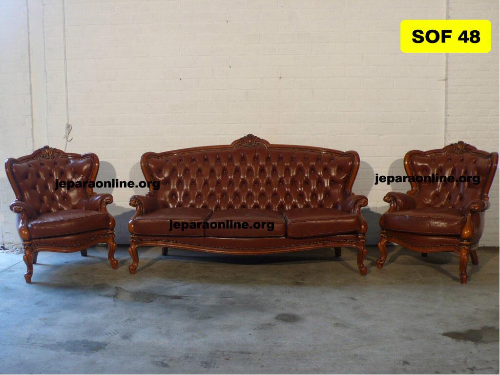 Sofa Tamu Jati Ukiran Kerang