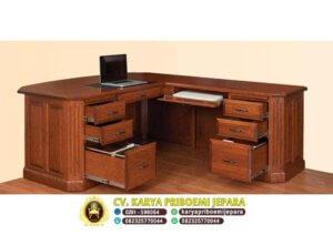 Tampak Dalam Meja Kantor Jati